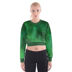 Ombre Green Abstract Forest Women s Cropped Sweatshirt by DanaeStudio