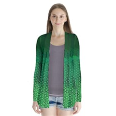 Ombre Green Abstract Forest Drape Collar Cardigan by DanaeStudio