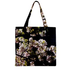 Japanese Cherry Blossom Zipper Grocery Tote Bag by picsaspassion
