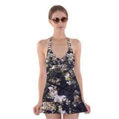 Japanese Cherry Blossom Halter Swimsuit Dress by picsaspassion