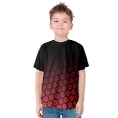 Ombre Black And Red Pasion Floral Pattern Kids  Cotton Tee by DanaeStudio