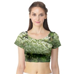 White Summer Flowers Short Sleeve Crop Top (tight Fit) by picsaspassion