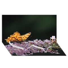 Butterfly Sitting On Flowers Twin Heart Bottom 3d Greeting Card (8x4)