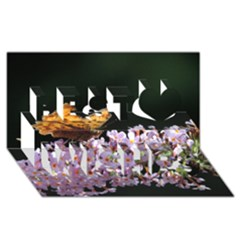 Butterfly Sitting On Flowers Best Wish 3d Greeting Card (8x4) by picsaspassion