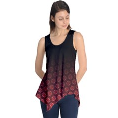 Ombre Black And Red Pasion Floral Pattern Sleeveless Tunic