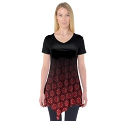 Ombre Black And Red Pasion Floral Pattern Short Sleeve Tunic