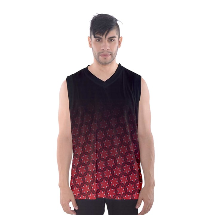 Ombre Black and Red Pasion Floral Pattern Men s Basketball Tank Top