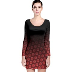 Ombre Black And Red Passion Floral Pattern Long Sleeve Velvet Bodycon Dress by DanaeStudio