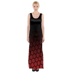 Ombre Black And Red Passion Floral Pattern Maxi Thigh Split Dress