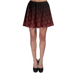 Ombre Black And Red Passion Floral Pattern Skater Skirt by DanaeStudio