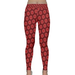 Red Passion Floral Pattern Yoga Leggings  by DanaeStudio