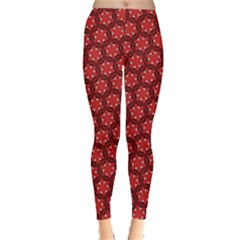 Red Passion Floral Pattern Leggings  by DanaeStudio