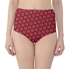 Red Passion Floral Pattern High Waist Bikini Bottoms by DanaeStudio