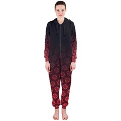 Ombre Black And Red Passion Floral Pattern Hooded Jumpsuit (ladies) by DanaeStudio