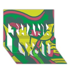 Green Abstract Decor Thank You 3d Greeting Card (7x5) by Valentinaart