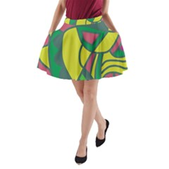 Green Abstract Decor A Line Pocket Skirt by Valentinaart