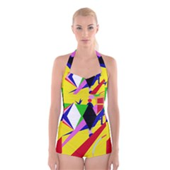 Yellow Abstraction Boyleg Halter Swimsuit  by Valentinaart