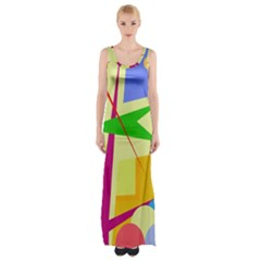 Colorful Abstract Art Maxi Thigh Split Dress by Valentinaart
