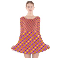 Vibrant Retro Diamond Pattern Long Sleeve Velvet Skater Dress by DanaeStudio