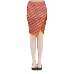 Vibrant Retro Diamond Pattern Midi Wrap Pencil Skirt by DanaeStudio