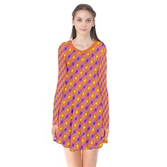 Vibrant Retro Diamond Pattern Long Sleeve V Neck Flare Dress by DanaeStudio