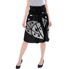 Black And White Tree Midi Beach Skirt by Valentinaart