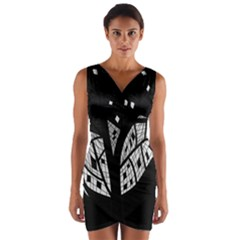 Black And White Tree Wrap Front Bodycon Dress