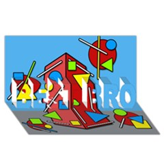 Crazy Building Best Bro 3d Greeting Card (8x4) by Valentinaart