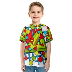 Crazy Geometric Art Kids  Sport Mesh Tee by Valentinaart
