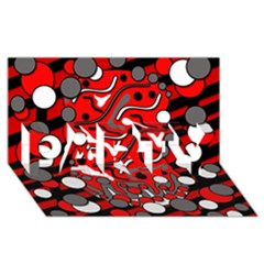 Red Mess Party 3d Greeting Card (8x4) by Valentinaart