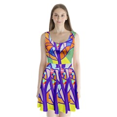 Decorative Tree 4 Split Back Mini Dress