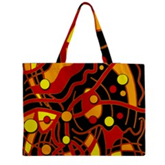 Orange Floating Medium Zipper Tote Bag by Valentinaart