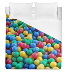 Funny Colorful Red Yellow Green Blue Kids Play Balls Duvet Cover (queen Size) by yoursparklingshop