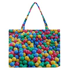 Funny Colorful Red Yellow Green Blue Kids Play Balls Medium Zipper Tote Bag