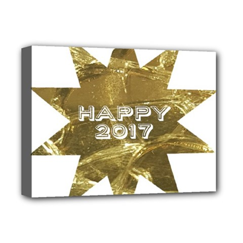 Happy New Year 2017 Gold White Star Deluxe Canvas 16  X 12   by yoursparklingshop