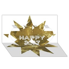 Happy New Year 2017 Gold White Star Twin Hearts 3d Greeting Card (8x4) by yoursparklingshop