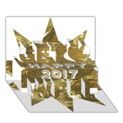 Happy New Year 2017 Gold White Star Get Well 3d Greeting Card (7x5) by yoursparklingshop