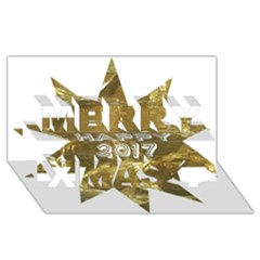 Happy New Year 2017 Gold White Star Merry Xmas 3d Greeting Card (8x4) by yoursparklingshop