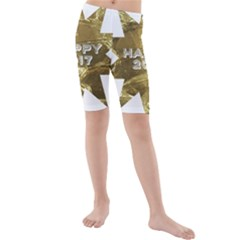 Happy New Year 2017 Gold White Star Kids  Mid Length Swim Shorts by yoursparklingshop