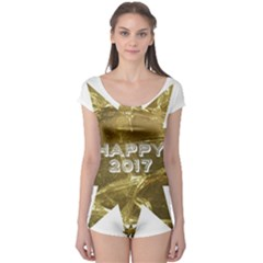 Happy New Year 2017 Gold White Star Boyleg Leotard  by yoursparklingshop