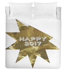 Happy New Year 2017 Gold White Star Duvet Cover (queen Size) by yoursparklingshop