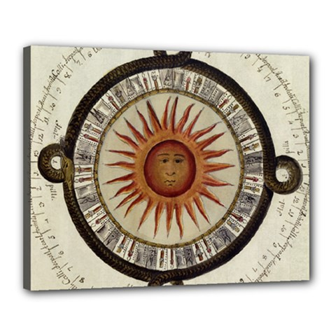 Ancient Aztec Sun Calendar 1790 Vintage Drawing Canvas 20  X 16  by yoursparklingshop
