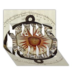 Ancient Aztec Sun Calendar 1790 Vintage Drawing Take Care 3d Greeting Card (7x5) by yoursparklingshop