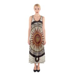 Ancient Aztec Sun Calendar 1790 Vintage Drawing Sleeveless Maxi Dress by yoursparklingshop