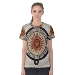 Ancient Aztec Sun Calendar 1790 Vintage Drawing Women s Cotton Tee
