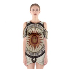 Ancient Aztec Sun Calendar 1790 Vintage Drawing Cutout Shoulder Dress by yoursparklingshop