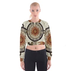 Ancient Aztec Sun Calendar 1790 Vintage Drawing Women s Cropped Sweatshirt by yoursparklingshop