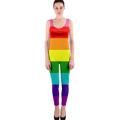 Colorful Stripes Lgbt Rainbow Flag Onepiece Catsuit by yoursparklingshop