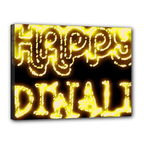 Happy Diwali Yellow Black Typography Canvas 16  X 12  by yoursparklingshop