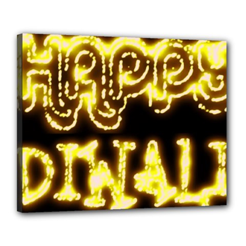 Happy Diwali Yellow Black Typography Canvas 20  X 16  by yoursparklingshop